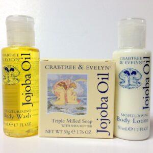 Crabtree & Evelyn Jojoba body lotion, soap, bath gel set